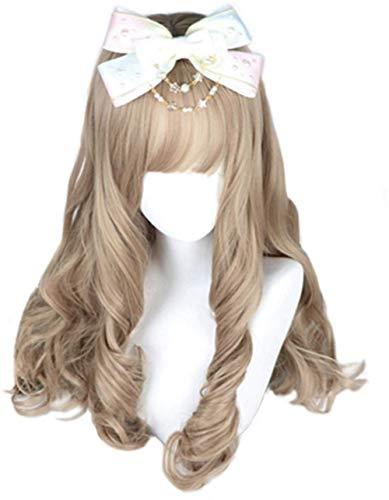 aiyaya Flaxen Curly Wig - Cosplay Wig, Wigs for Women, Natural Synthetic Wig, Bang Wig, Lolita Wig with Wig Cap (Long)