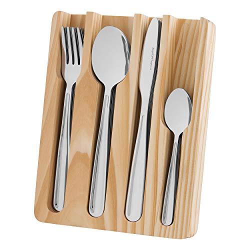 BergHOFF Essentials Sereno bestekset met opbergdoos, 25-delig Set, bestek met opslag, mes, vork, eetlepel, theelepel, staal/hout, 1212016