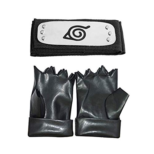 JINJIANG Anime-Naruto Diadema Leaf Village y Guantes Hatake Kakashi Ninja Accesorios para Disfraz Negro