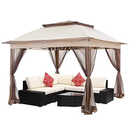 KEDY 11'x11' Pop Up Gazebo with Mosquito Netting Outdoor Canopy Tent Gazebo for Patio, Deck and Backyard, w/ Carry Bag (Khaki)