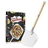 FINEW Pala para pizza de aluminio con dos mangos de madera extraíbles, extra larga de 90 cm, pala...