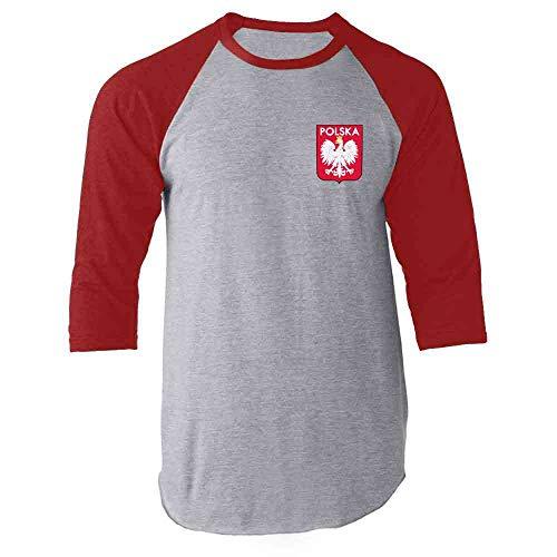Poland Soccer Retro National Team Sport Football Red L Raglan Baseball Tee Shirt