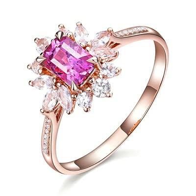 Bishilin Anillos de Oro Rosa 750 Anillo de Bodas de 18 Quilates, Elegante Flor 4 Prong 0.8ct Rosa Zafiro con Diamante Anillo de Alianza de Boda de Compromiso de Aniversario Tamaño: 18,5