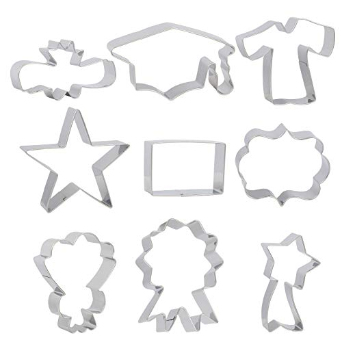 KATOOM 9pcs Graduation Cookie Cutter,Stainless Steel Biscuit Mold Baking Set,Graduation Cap,Diploma,Stars,Gown,Bouquet,Certificate, 2020 Grad Party Supplies for Making Cake Fondant Pancake