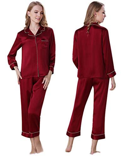 Women's Silk Sleepwear Nightdress Pajamas,Blouse & Pants,9 Colors,100% Silk(Main),真丝睡衣 (Red, M)