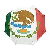 Sombrilla con diseño de la Bandera de México Envejecida UPF 50+, Resistente al Agua, Resistente al Viento, 3 Paraguas Plegable con Cierre automático
