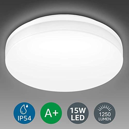 Lighting EVER 15W Deckenlampe, IP54 Wasserfest Badlampe, 5000K LED Deckenleuchte, 1250lm Lampen ideal für Badezimmer Balkon Flur Küche Wohnzimmer, Kaltweiß Badezimmerleuchte Ø22cm