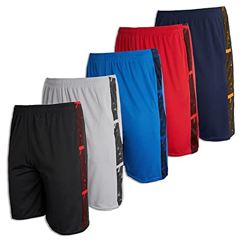 5 Pack: Big Boys Youth Clothing Knit Mesh Active Athletic Performance Basketball Soccer Lacrosse Tennis Exercise Summer Gym Golf Running Teen Shorts -Set 4- L (12/14)
