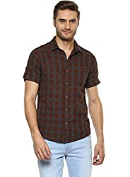 Mufti Mens Checkered Slim Fit Casual Shirt