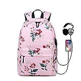 Bolso de escuela de regalo para niños, mochila de flores rosa recargable usb para niñas, bolso de escuela floral de nylon impermeable
