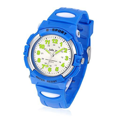 Juboos Kinderuhr Jungen M?dchen Analog Quartz Uhr mit Armbanduhr Gummi Wasserdicht Outdoor Sports Uhren-JU-001(Blau)