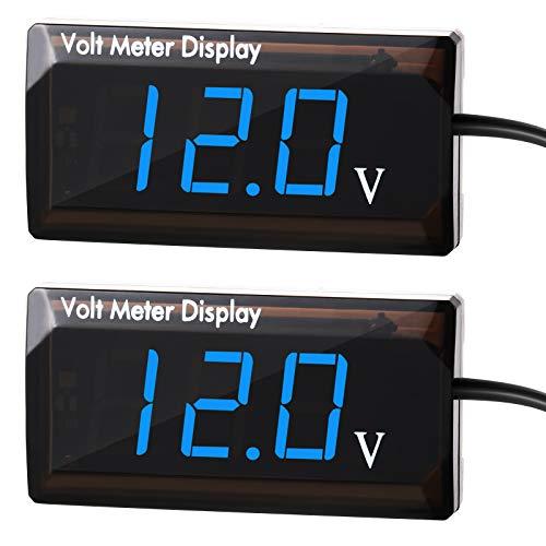 2 Pieces DC 12V Car Digital Voltmeter Gauge LED Display Voltage Meter Waterproof Voltage Gauge Meter for Car Motorcycle (Blue Light)