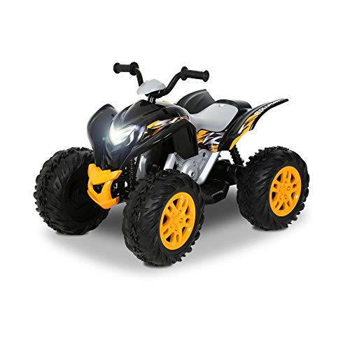Rollplay 12V Powersport ATV Quad Battery-Powered Ride-On Toy, Battery-Powered Kid's Ride On, Black/Yellow