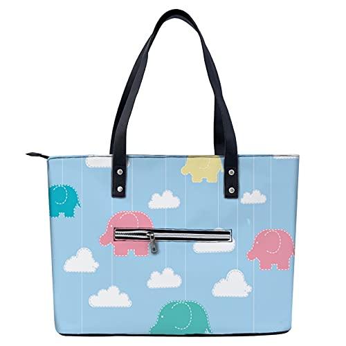 Bolso de mano con estampado de elefante de dibujos animados para ir de compras, gimnasio, senderismo, viajes, yoga, bolsa de hombro con bolsillos exteriores con cremallera
