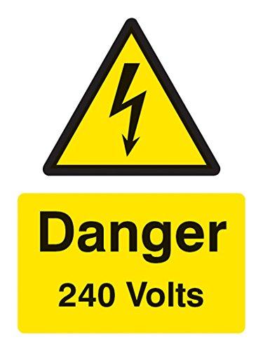Caledonia Signs 24001E Danger 240V plaat, zelfklevend vinyl, 200 mm x 150 mm