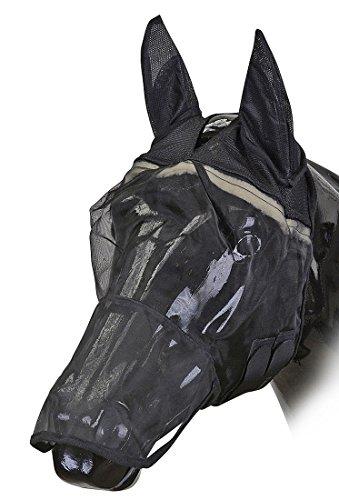 Amesbichler HorseGuard Fliegenmaske mit Ohren und Maulteil schwarz | Fliegenhaube | Fliegenschutz Pferde