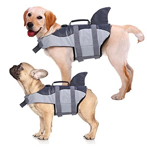 Kuoser - Chaleco salvavidas para perros (salvavidas y mango de rescate superior para cachorros pequeños/medianos/grandes, chaleco de flotación de alta visibilidad para playa, piscina y canotaje
