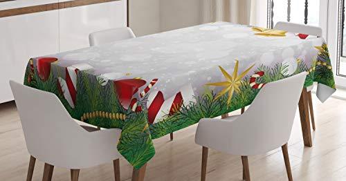 ABAKUHAUS Noël Nappe, Nuit de Noël Noel Eve, Linge de Table Rectangulaire pour Salle à Manger Décor de Cuisine, 140 cm x 200 cm, Multicolore