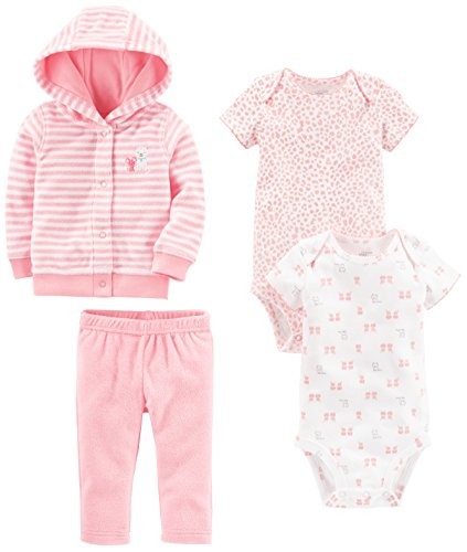 Simple Joys by Carter's Baby Girls' 4-Piece Terry Cardigan Set, Pink Kitty, 3-6 Months