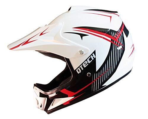 Qtech Casco Todoterreno Infantil para Ciclismo Motocross MX ATV BMX - Diseño gráfico Brillante/Mate M (54-55cm) - Rojo