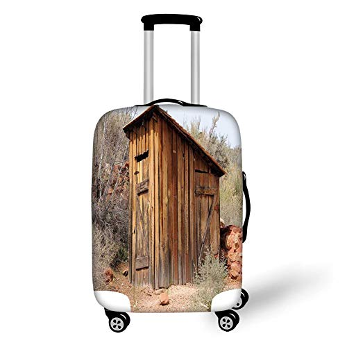 Travel Luggage Cover Suitcase Protector,Outhouse,Old Wooden Shed in The Outback Country Side with Olive Trees,Caramel Brown and Dark Green,for Travel