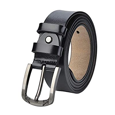 "Women's Leather Belts Unisex Belt for Plus Size 31""-62"" Waist Jeans Dresses Suit Casual Pants 1.37Inches Wide Men Waist Belt (Black, 36""-39""waist)"