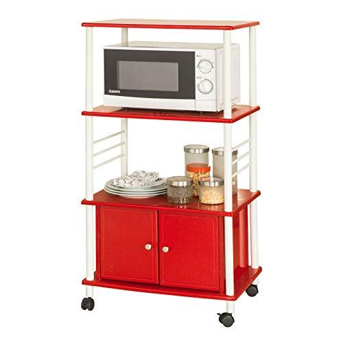 SoBuy® FRG12-R Küchenwagen mit 3 Ablagen und 2 Türen Küchenschrank Rollschrank Mikrowellenschrank rot BHT ca: 60x114x40cm