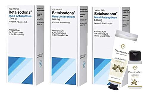 Betaisodona® Mund-Antiseptikum 100 ml, Sparset 3 x 100 ml und 1 x Pflegeprodukt von Pharma Nature