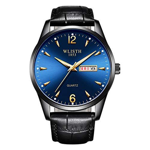 PIANAI Reloj para Hombre/cinturón de Moda Reloj Impermeable Luminoso de Doble Calendario/Reloj de Cuarzo para Estudiantes,C