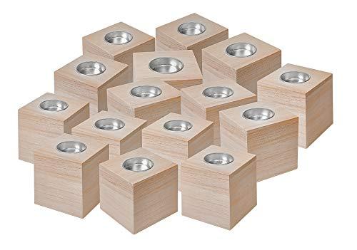 15 Teelichtwürfel zum Basteln Halter 8cm Holz Deko natur VBS Großhandelspackung