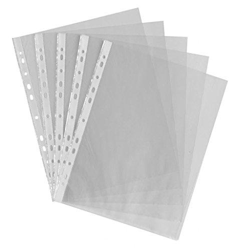Fundas A4 de plástico transparente Gemlady, 100 unidades, perforadas, para guardar documentos, para carpetas de anillas, fundas de archivos transparentes