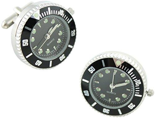 masgemelos Manschettenknöpfe Uhr Rolex schwarz Cufflinks