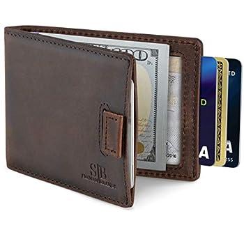 SERMAN BRANDS RFID Blocking Bifold Slim Genuine Leather Minimalist Front Pocket Wallets for Men Money Clip  Texas Brown 3.0