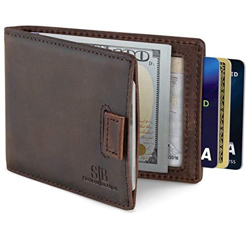 SERMAN BRANDS RFID Blocking Bifold Slim Genuine Leather Minimalist Front Pocket Wallets for Men Money Clip (Texas Brown 3.0)