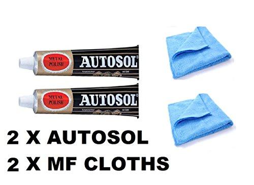 Solvol Autosol Metall-Politur und 2 Mikrofaser-Reinigungstücher, für Chrom und Aluminium, 2 x 75-ml-Tuben