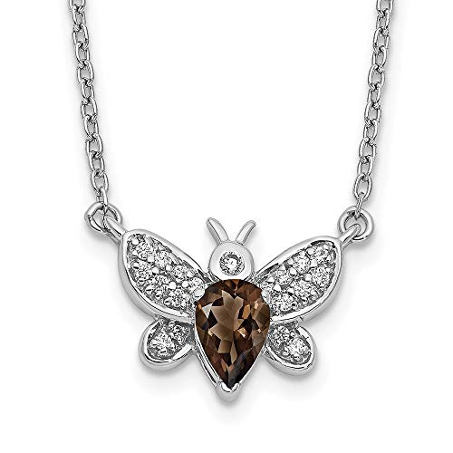 14k White Gold Diamond and Gemstone Bee Necklace, 18'