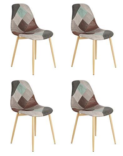 Sedia da pranzo in stile nordico in tessuto scientifico patchwork, sedia per il tempo libero con gambe in metallo per cucina, soggiorno, ufficio, sala d'attesa, set da 4 (grigio)