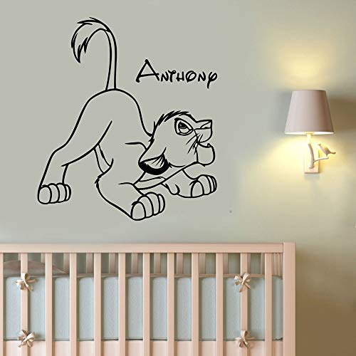 Custom Name Simba Wall Sticker Lion King Kids Room Wall Decal Cartoon Home Decor Animal Boy Girl Room Decal Teen