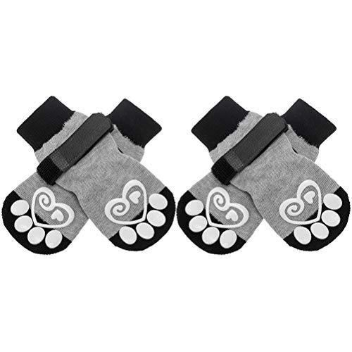KOOLTAIL Hundesocken Anti-Rutsch Hundepfotenschutz Hundeschuhe 2 Paar Verstellbare Hundesocken für Haustier Indoor & Outdoor Walking