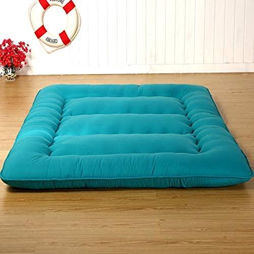 AZD Materasso futon Materasso per Pavimenti per Dormire, Addensare Tatami Materasso Pieghevole Materasso Letto per Bambini Adulti,Blu,Twin