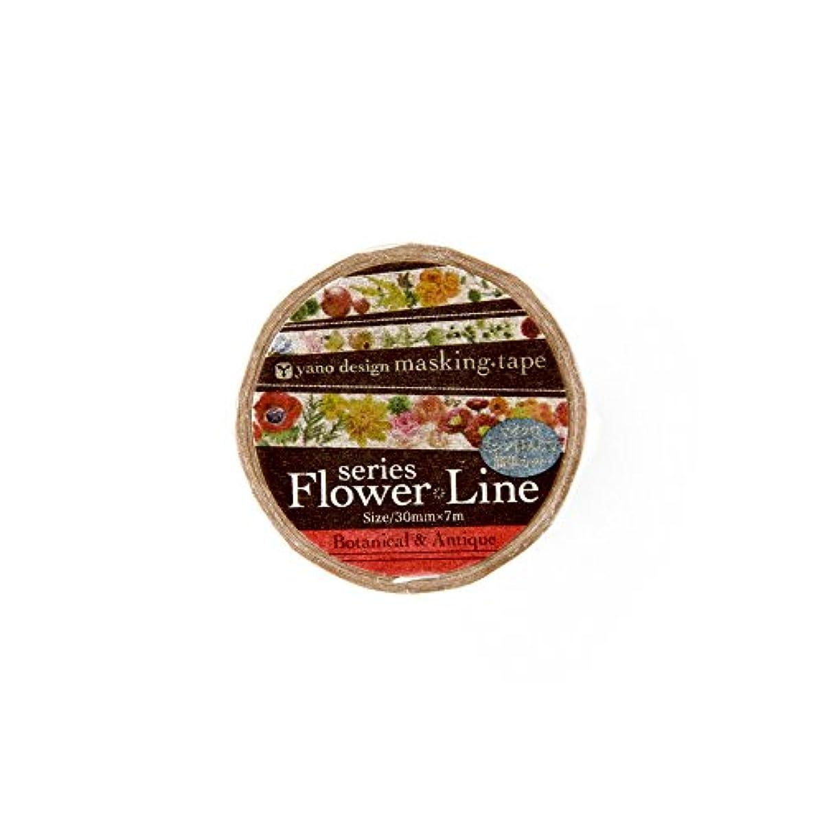 Roundtop Designer's Washi Masking Tape, Yano Design Series Flower Line, Botanical & Antique (YD-MK-068)