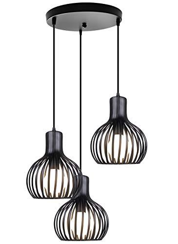 iDEGU 3 Lampes Suspension Luminaire Moderne, Lustre Plafonnier en Forme de Cage à Vase Lampe de Plafond pour salon cuisine salle à manger restaurant - diamètre 20cm, Noir