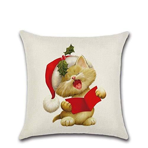 wefwef 18 X 18 Pulgadas,Navidad Cojín Cubierta Gato Perro Hogar Decorativo Sofá Cojín Cojín Cojín Funda De Algodón Lino Cuadrado Almohadas para Sofá Coche Dormitorio Oficina Throw Pillow Case, 5,450