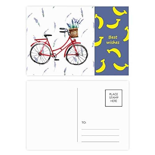 DIYthinker Aquarel Fiets Lavendel Bloem Banaan Postkaart Set Thanks Card Mailing Side 20 stks 5.7 inch x 3.8 inch Multi kleuren