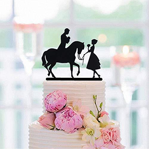 Soode Silhouette-Bruid Leid het Paard en de Groom op het Paard Bruiloft Taart Topper voor Bruiloft Party Decoraties