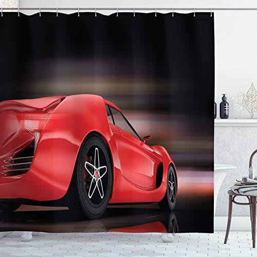 ABAKUHAUS Autos Duschvorhang, Futuristisch Rot Sport, mit 12 Ringe Set Wasserdicht Stielvoll Modern Farbfest & Schimmel Resistent, 175 x 200 cm, Rot Schwarz