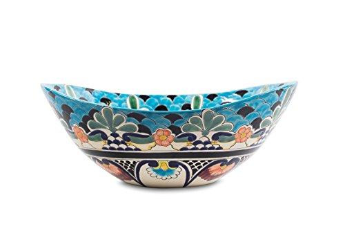 Cerames La Reina - Talavera mexikanisches Waschbecken - Cerames | Aufsatzwaschbecken 46 x 38 x 15 cm | Waschschale aus Mexiko für Badezimmer, rustikale Küche