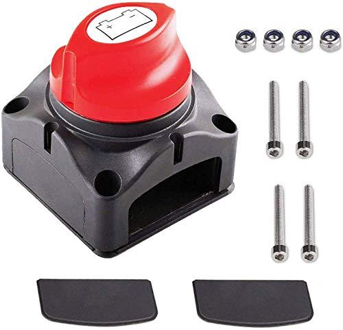 Interruptor de Batería Desconexión de Aislador de Batería Impermeable 12V-48V 300A, Interruptor Maestro de Desconexión de Encendido/Apagad Poweka para Coche Marina RV ATV y Barco