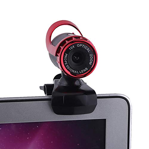 HD webcamera, USB2.0 12M pixels webcam met microfoon, 360 graden draaibare clip-on HD webcam camera met microfoon voor videobellen Computer PC Laptop(Rood)