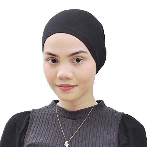 Silk Story Salina Cotton Turban Hair Cover Under Scarf Shawl Hijab Cap Bonnet Cap Instant (White) (Black)